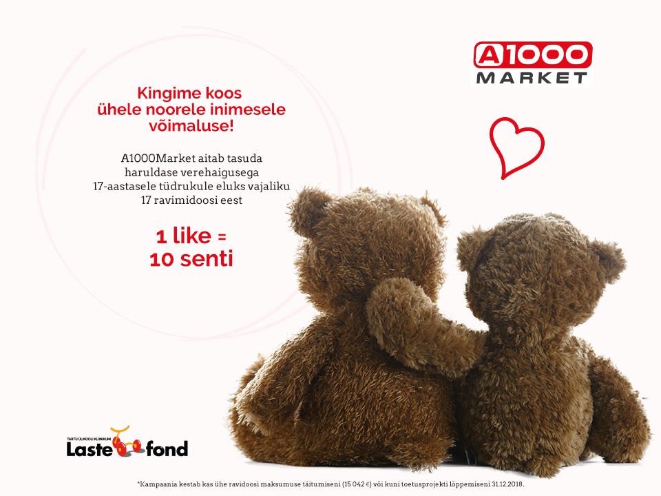 905dfd4a91f A1000 Market aitab Lastefondi kaudu tasuda haruldase verehaigusega tüdruku  raviarved. Oma panuse saad anda kui paned like'i A1000 Marketi FB lehele.